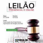 Crea-SE realiza leilão no dia 9 de julho na sede da Associação dos Engenheiros Agrônomos de Sergipe (AEASE)