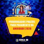 Crea-SE prorroga prazo de vencimento de anuidade/2020